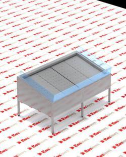 прилавок для рыбы с агрегатом ROSINOX 2200х1650х1050
